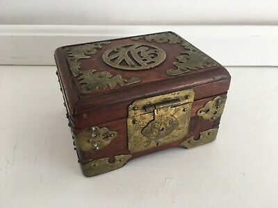 Antique Chinese Rosewood Hinged Small Box w/Brass Ornamentation Good Condition