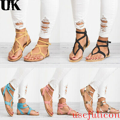 Womens Flat Strappy Sandals Ladies Gladiator Summer Holiday Beach Shoes Size 3-8