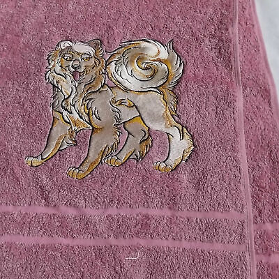 Samoyed Dog Embroidered Bath Towel, New Home Gift, Embroidered Towel, Dog gift