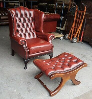 Vintage Oxblood Red Leather Chesterfield Wingback Armchair & Stool.WE DELIVER