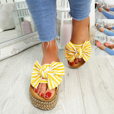 Womens Ladies Front Bow Slip On Heel Sandals Flatform Summer Party Shoes