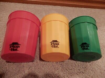 Lot Of 3 Vintage Plastic Pizza Hut Cups Red Green Yellow