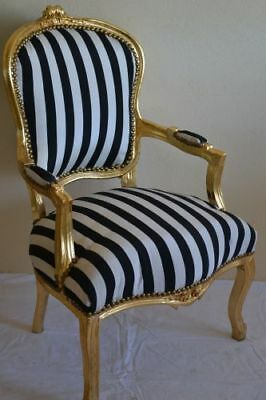 Louis Xv Arm Chair French Style Black And White With Gold Wood