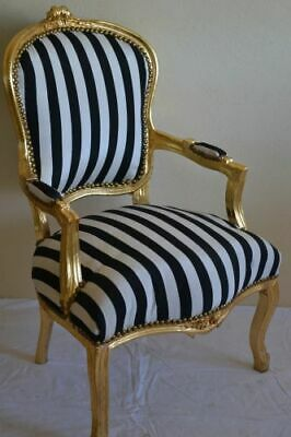 Louis Xv Arm Chair French Style Chair Vintage Furniture Black  White Gold Wood