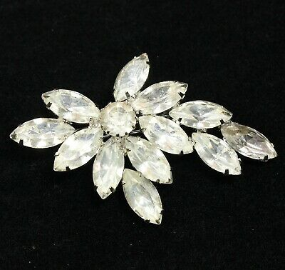 Vintage Clear Marquise Navette Rhinestone Spray Silver Tone Prong Set Brooch Pin