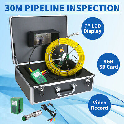"""8GB 30M Sewer Waterproof Camera Pipe Pipeline Drain Inspection 7"""" LCD DVR"""