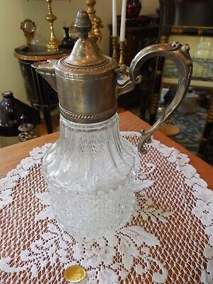 Leonard Italian Crystal And Silver Plate Pitcher