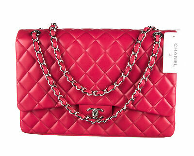 138417d4228e12 CHANEL FUCHSIA LAMBSKIN Quilted Maxi Classic Single Flap Bag ...