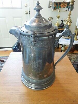 "Antique 1878 Silver Plated Reed & Barton Ceramic Lined Coffee/Ice Pitcher 14"" T"