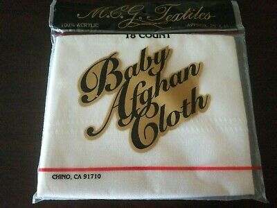 Baby Afghan Cloth White NEW NIP M C G Textiles 29 x 45 Cross Stitch Embroidery