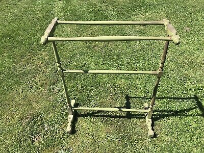 Antique Quilt Rack Chippy Wood Green Paint Country Home