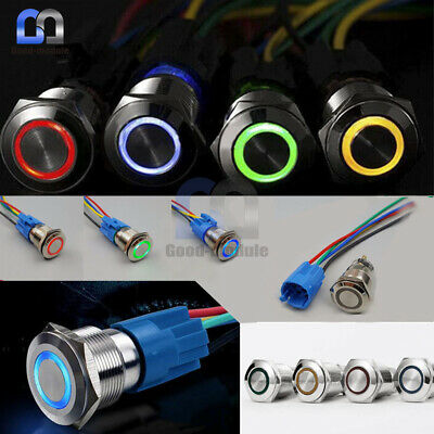 4Pin 12mm 12V Push Button LED Power Switch Momentary Latching Metal Waterproof