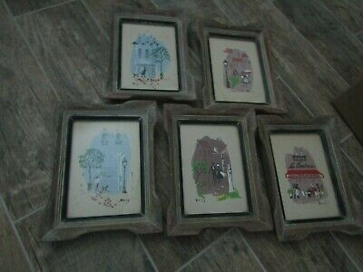 5 Vintage Antique Wood Framed Prints Paris France Artist Signed  LOOK