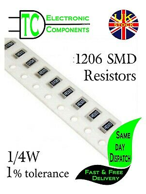 1206 SMD Resistors 0.25W 1% Full Range Available **UK Seller** Same Day Dispatch