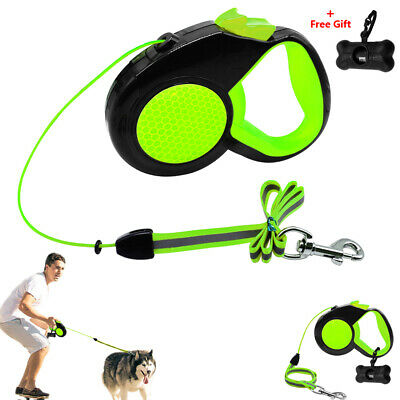 Heavy Duty Retractable Dog Leash Cord 10/16/26ft Extendable Walking Leads Green