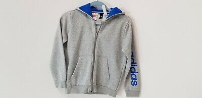Boys Adidas  Jogging Suit  Light Grey With Hood  Size 9/10
