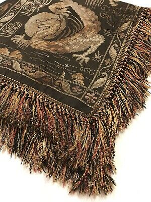 Antique Vintage Brown Asian Dragon Fire Place MANTLE SCARF Fringe Table Runner
