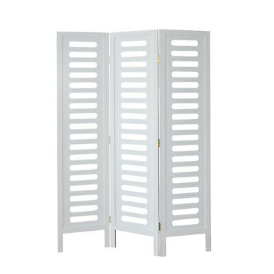 3 part room divider wood Paravent screen in white Clothing racks