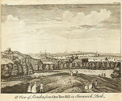 1754 A View of LONDON from ONE-TREE-HILL in Greenwich Park - Impressive and Rare