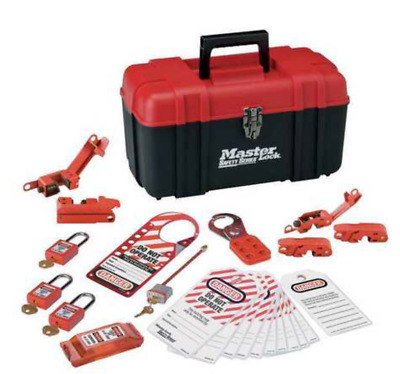 Master Lock Portable Lockout Kit, Filled, Electrical Lockout, Tool Box, Red