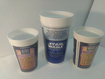 Star Wars Sebulba Darth Vader Stormtrooper Pepsi Plastic Drinking Cup Set t3367