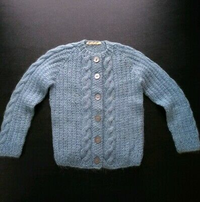 Vintage Mohair Hand Knit Childrens Sweater Girl Boy Blue