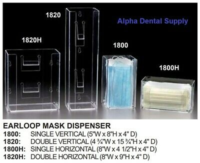 Plasdent Dental Medical Clear Acrylic Erloopmask Dispenser Wall Mount
