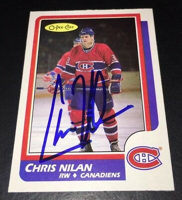 Chris Nilan Montreal Canadiens Signed 1986/87 O-Pee-Chee #199 Card! Autographed