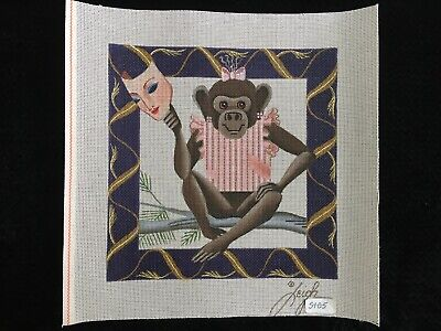 Leigh Designs Hand-painted Needlepoint Canvas Girl Monkey With Female Mask