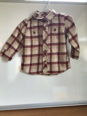 Baby Gap Boy's Shirt Size 6-12 Months Red/Beige Plaid, Buttoned.