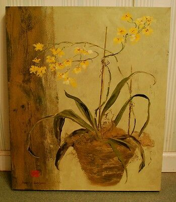 ASIAN ORCHIDS Vintage ISABELLE DE BORCHGRAVE Stretched Canvas Box Framed Print