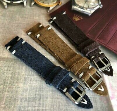 Italian Vintage Genuine Suede Leather watch strap 18 19 20 21 22 24mm Handmade