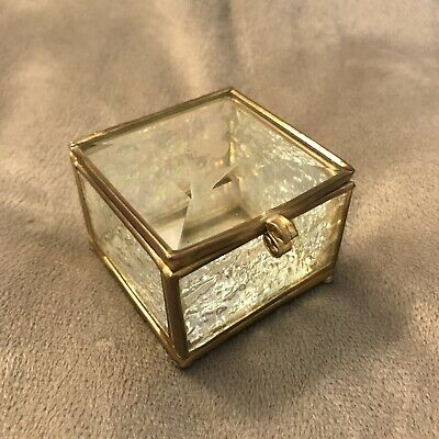 Gift Trinket Vintage Etched Antique Glass Ring Presentation Mirror Jewelry Box