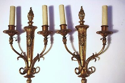 (2) Bronze Sconces in the French Fashion w. Classical elements. OFFERS WELCOME.
