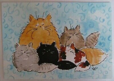 ACEO Original Watercolor Ink Painting Cats Maine Coon Kitty Family Denise Every