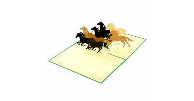 Eight Running Horses Popup Greeting Card **Best price in Aus**