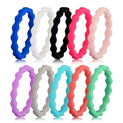 Medical Grade Silicone Wedding Ring Flexible Men Women 3mm Wide Wave Rubber Band