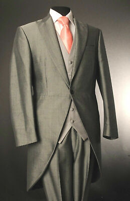 M100 Mens Boys Silver Mohair Wedding Evening Formal Ascot Suit Tailcoat Jacket