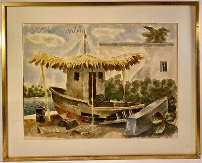 Listed Artist Fletcher Martin (1904-1979) Signed Watercolor Spanierman Gallery