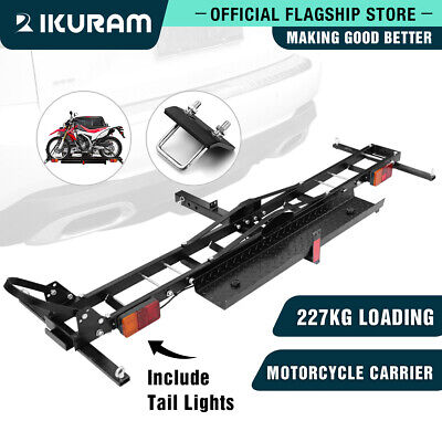 IKURAM 2 Arms Motorcycle Motorbike Carrier Steelrack 2″ Towbar Hitch Mount Ramp