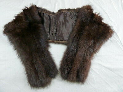 Brown Dyed Skunk Fur Vintage Semi Straight Stole Cape Shawl