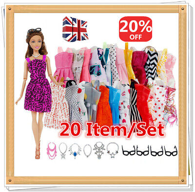 Shoes and jewellery Clothes Accessories 20 Item/Set For Barbie Doll Dresses UK