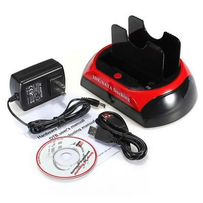 """HDD Docking Station 2.5 """"3.5"""" IDE SATA Lecteur carte double disque USB Clone AT"""