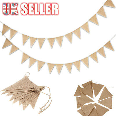 3 M Hessian Flag Banner Wedding Birthday Party Bunting Decorations Rustic