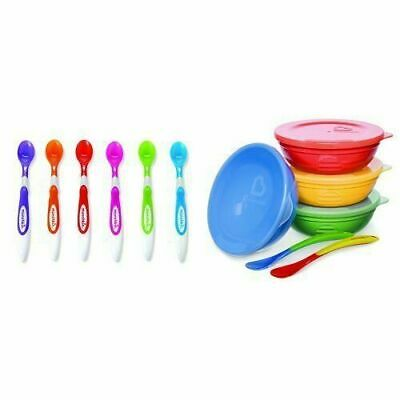 10 Piece Bowl and Spoon Set Soft Tip Infant Spoons Weaning Toddler Feeding New
