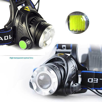 10000LM Zoom T6 LED 18650 Headlamp Torch Headlight Rechargeable Head Lamp GN
