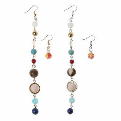 Universe Galaxy The Eight Planets Solar System Asymmetric Natural Stone Earrings