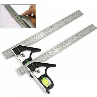 "300mm 12"" Adjustable Engineers Combination Square Set Right Angle Ruler 30*11cm"