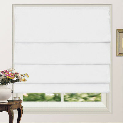Roman Shade Blind 100% Blackout Microfiber Fabric Pleated With Coating 4Colors