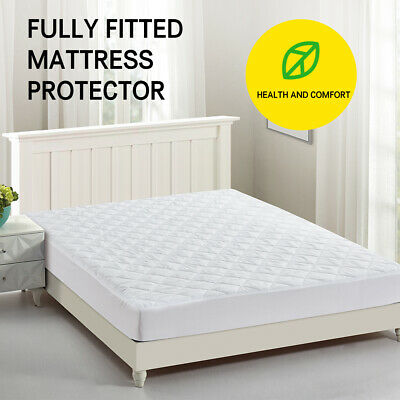 White Color Fully Fitted Mattress Protector Waterproof Quilted Cover All Size